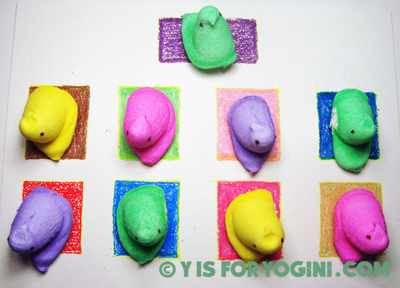 marshmallow peeps doing yoga peepasana peepyoga