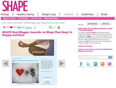shape magazine best yoga blog