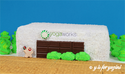 yogaworks cake with candy decor
